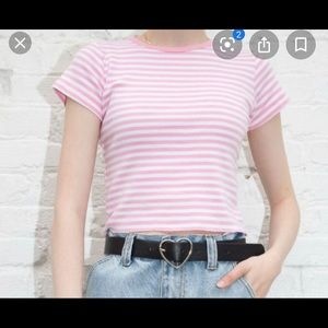 Hallie top in pink and white